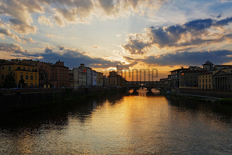 River Arno and Ponte Vecchio at Dusk