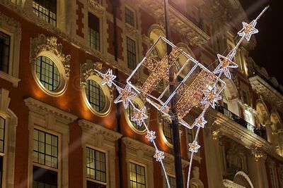 Christmas Decorations at Night in Oxford Street