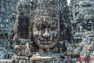 Giant Buddha face inside Bayon temple, Cambodia