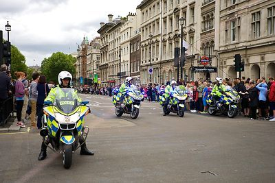 Police Motorcyclists Wait in Whitehall