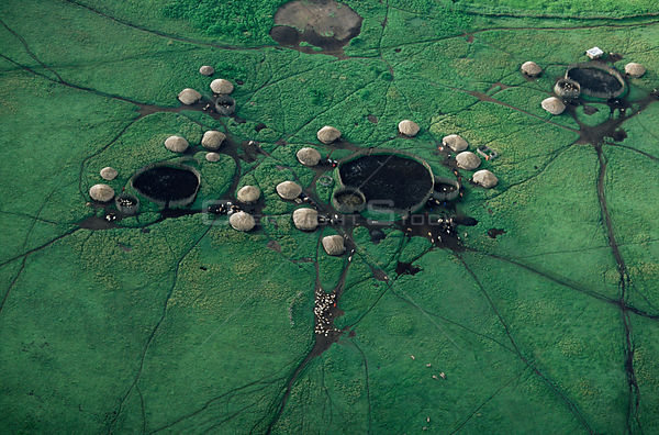 Aerial view of Masai village huts and livestock enclosures, in Crater Highlands, Ngorongoro conservation area, Tanzania.
