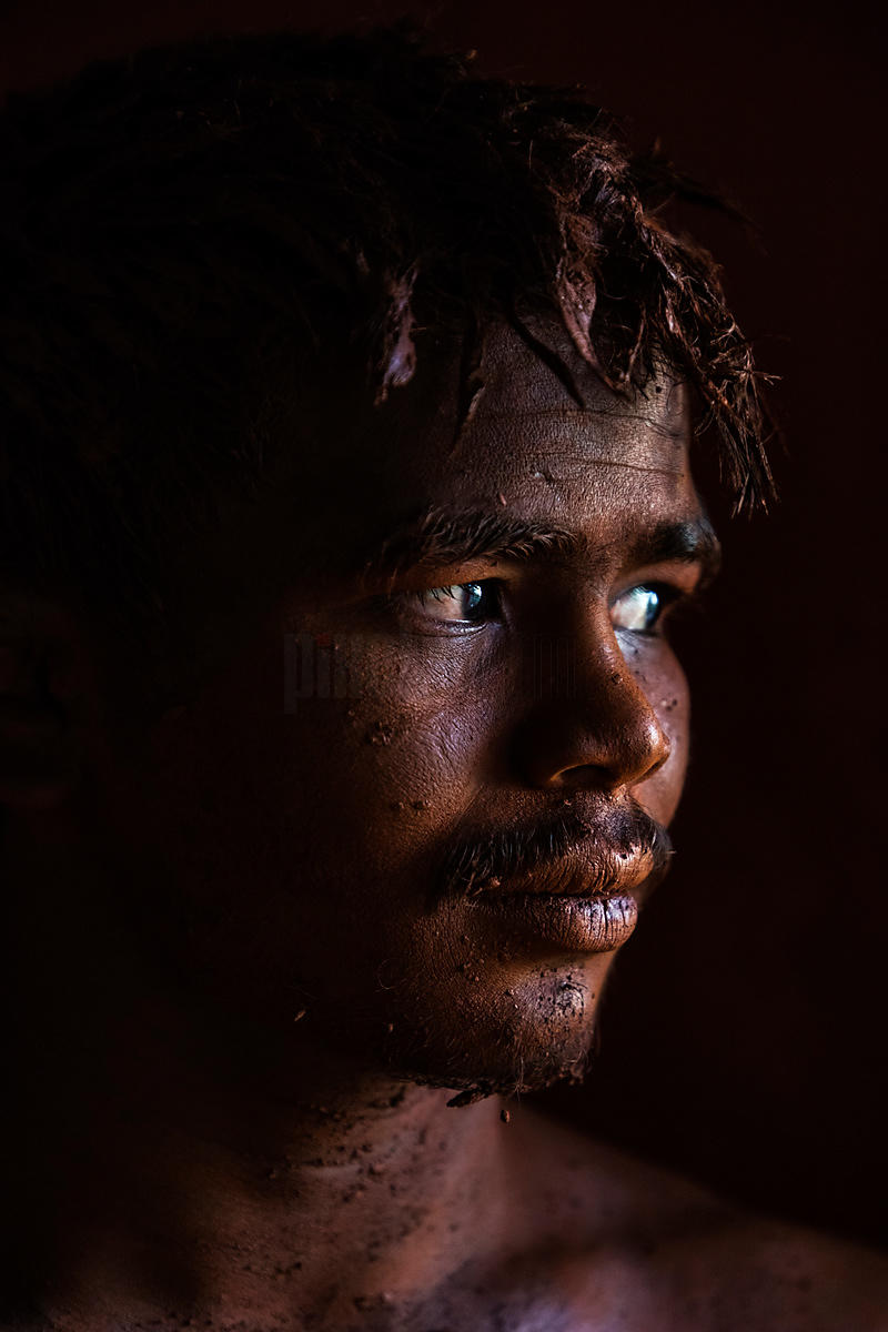Portrait of a Kushti Wrestler Covered in the Akhara Mud