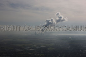 Coal Powered Power Station aerial photograph of Fiddlers Ferry against a grey winters sky
