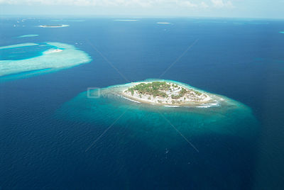 Aerial view of Maldive Island, the Maldives, Indian Ocean