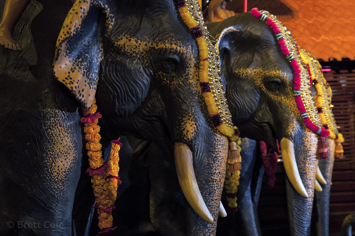Life-size elephant model at a Kerala-themed Durga Puja pandal in the Lake Gardens area of Kolkata, India.