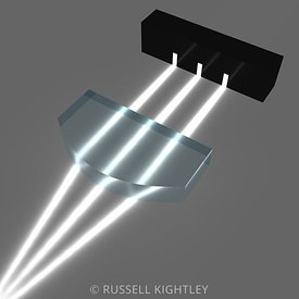 Plano-convex lens converging light rays