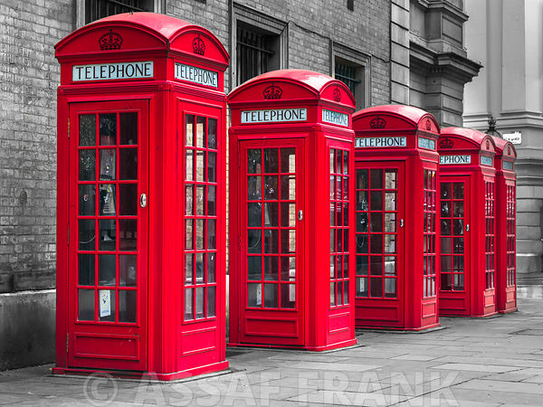 London, telephone boxes in a row