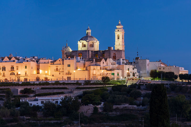 View of the Skyline of the Village of Locorotondo at Dawn