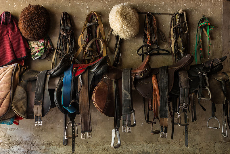 Turkmen Tack Room at a Akhalteke Horse Breeding Farm