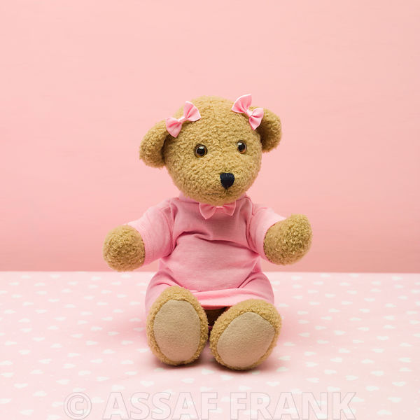 Baby teddy bear on pink background