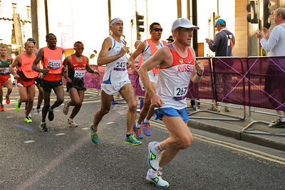 Athletes ran though the City of London  T12 London 2012 Marathon