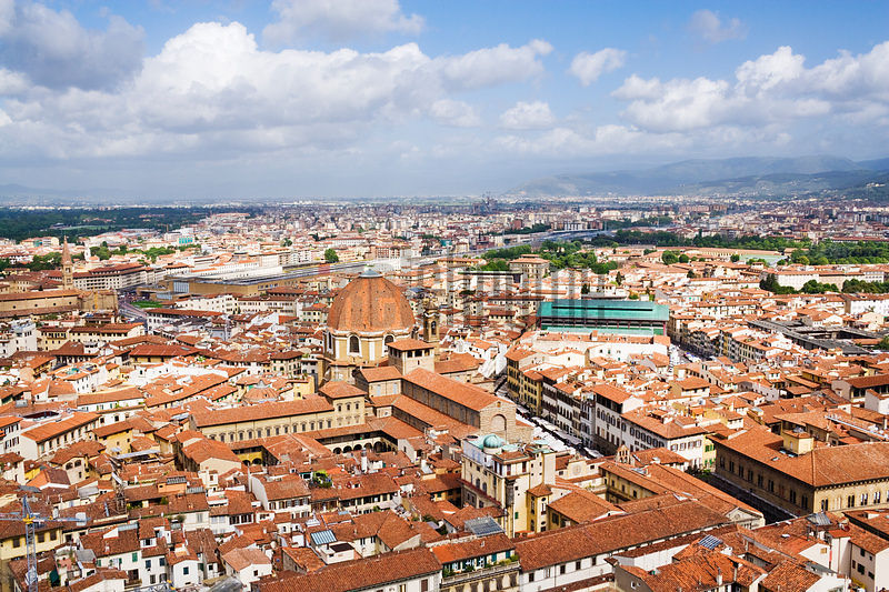 View over the Rooftops of Florence from the Duomo towards the Church of San Lorenzo, Florence, Tuscany, Italy