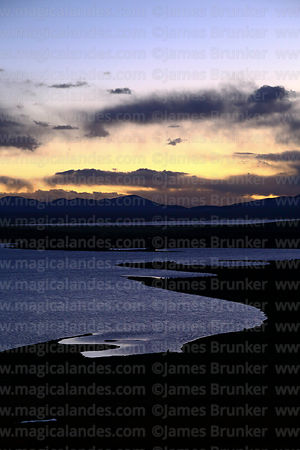View over Laguna Patancas at sunset, near Pujzara, Cordillera de Sama Biological Reserve, Bolivia