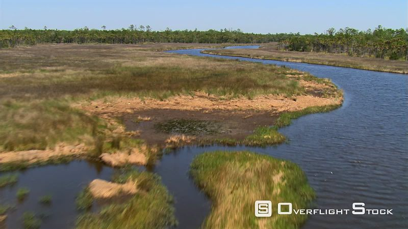 Flight over barren grassland toward trees along a Florida river