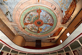 Painting on ceiling inside historic Municipal Theatre , Pisagua , Region I , Chile