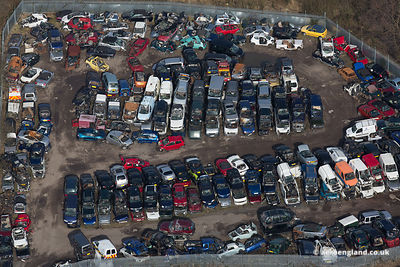 End of the road : aerial photograph of Scrap Yard - vehicle dismantlers in Coppull Lancashire uk