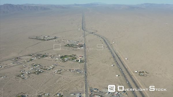 Traffic Jam on Mojave Freeway Interstate 15 Baker California