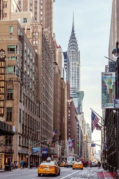 Street view with Chrysler building, New York, USA