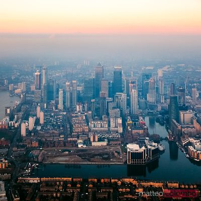 Aerial of Canary Wharf at sunset, London, England