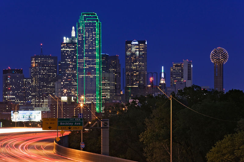 Buildings lit up at dusk, Dallas, Texas, USA