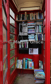 The telephone Swap Box at Barrington, Somerset, that doubles up as a telephone and free public library