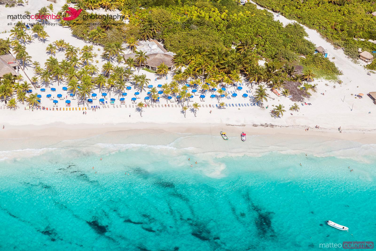 Aerial view of tropical beach near Cancun, Mexico