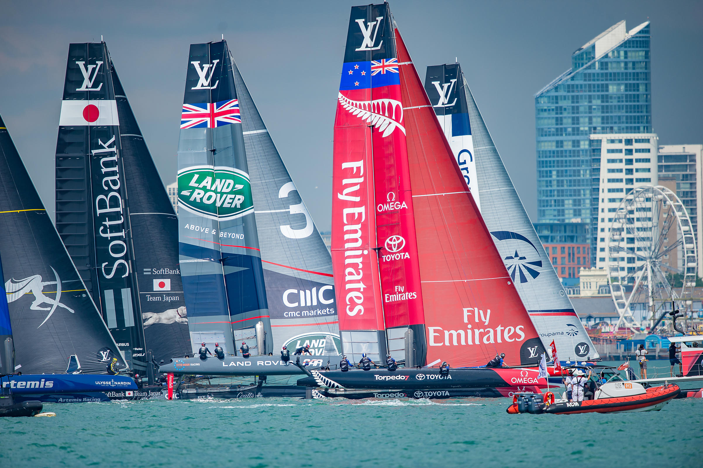 America's Cup 2016 Yachts in the Solent at the Start of the Race