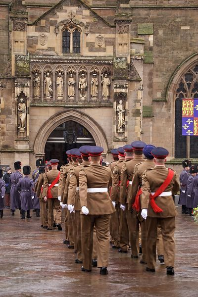 Military Bearer Party Marching towards the Entrance of Leicester Cathedral