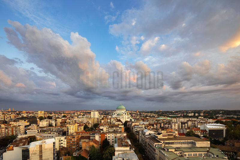 Elevated View of Saint Sava Cathedral at Sunset