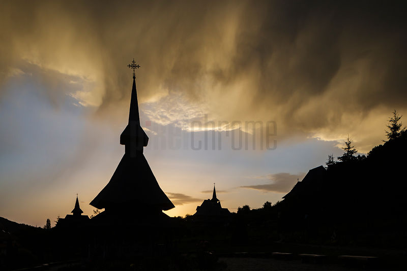 Wooden Churches and Orthodox Monastery of Barsana at Sunset
