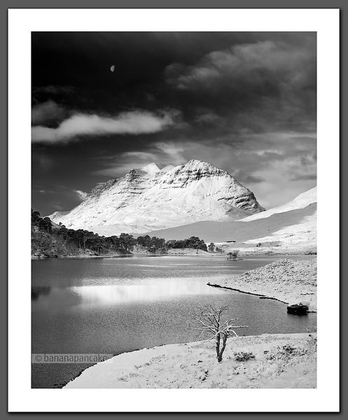 Moon over Liathach - Black and White Print (BP2287BW)