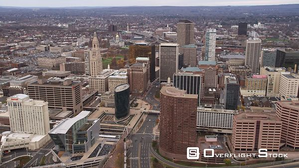 Aerial Orbiting View of Downtown Hartford, CT.