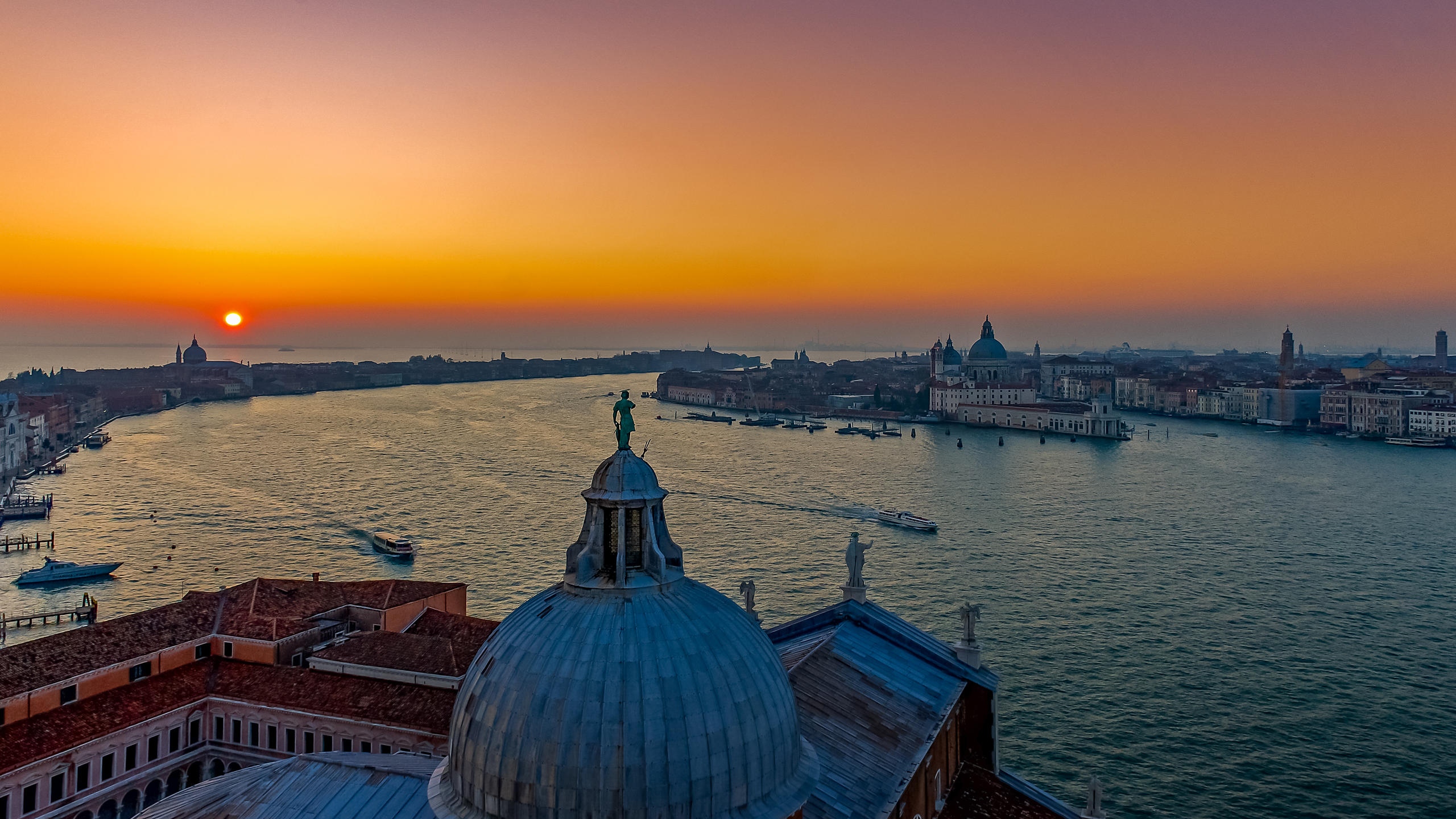 View From the Chiesa Del Redentore, Giudecca at Sunset with Water Taxis in the Grand Canal, Venice