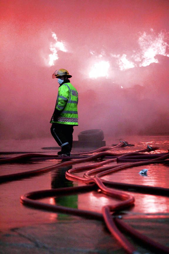 Fireman at Stalybridge tyre yard