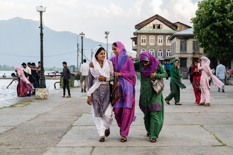 Women Walking Along the Shore of Dal Lake