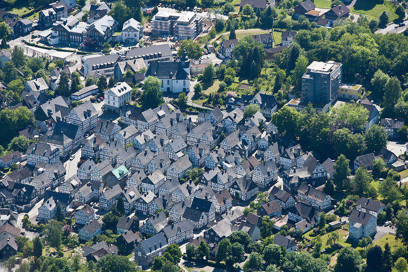 Aerial view of half timbered houses, Freudenberg, Germany,