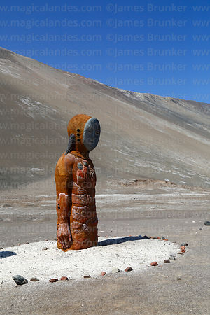 Modern statue of Chinchorro mummy, Quebrada Camarones, Region XV, Chile