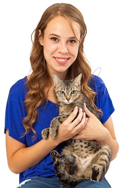 Young Woman and Cat Looking Forward