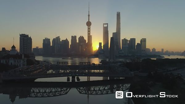 Panoramic Shanghai Skyline and Waibaidu Bridge at Sunrise. Lujiazui Financial District and Huangpu River. China. Aerial View....