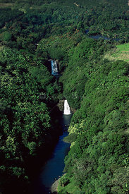 Aerial view of Double waterfall, Hilo, Hawaii Island, Hawaii
