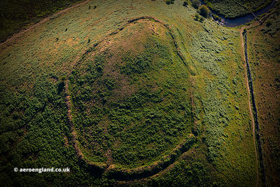 Cow Castle Iron Age hill fort from the air