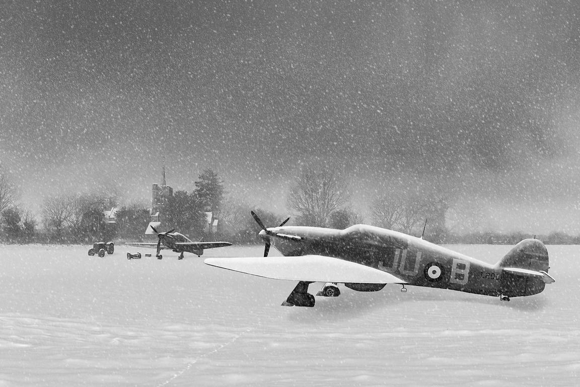 Hurricanes in the snow with church black and white version