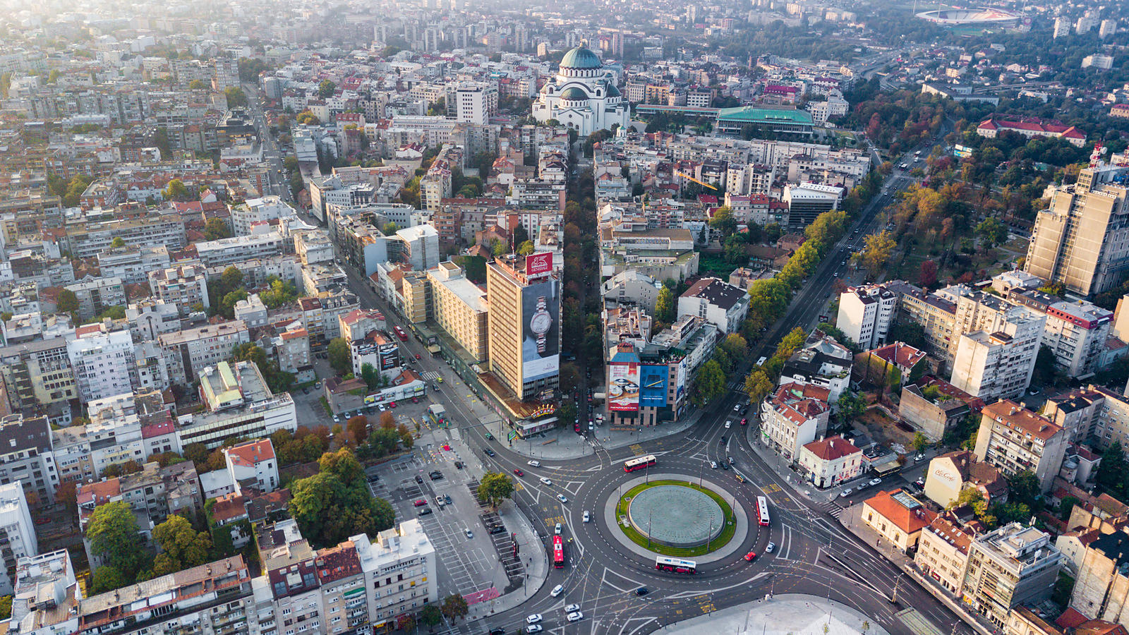 Aerial View of Downtown Belgrade at Sunrise