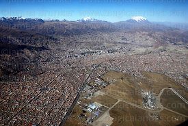 Aerial view of El Alto and airport, , Cordillera Real mountains in background, Bolivia