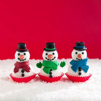 Cute snowmen cupcakes in a row
