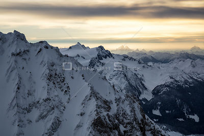 Mount Graibaldi and Mount Judge on the Horizon of BC Coast Mountains in Winter