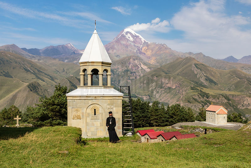 Elevated View of a Monastery abobe Kazbegi