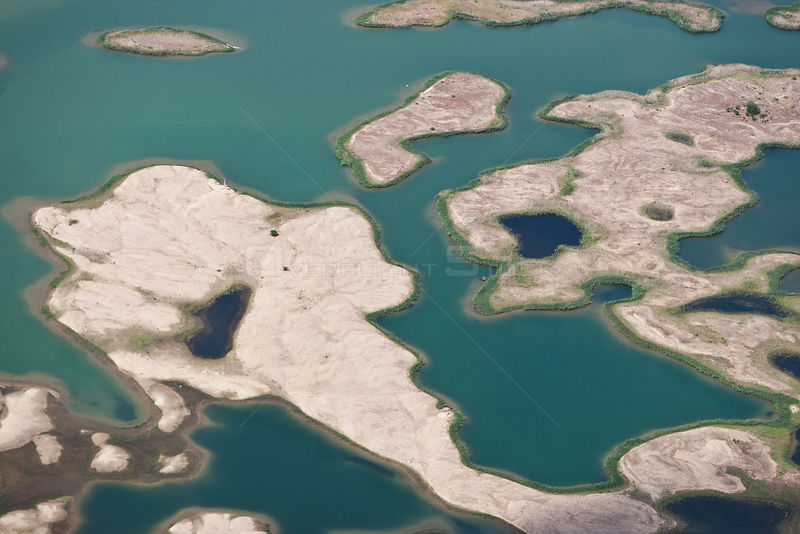 Aerial view of sandy islets in East Lake near Muhlberg / Elbe, Saxony, Germany, July 2010