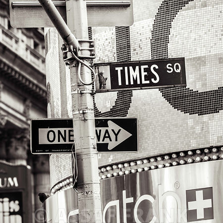 Road signs on traffic signal, New York