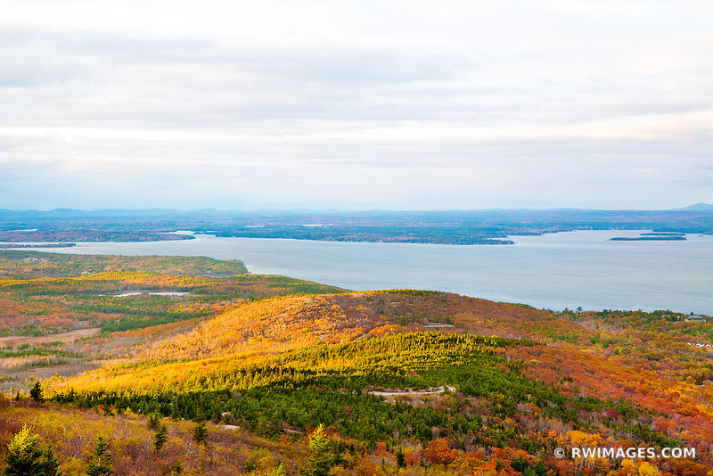 NEW ENGLAND FALL COLORS CADILLAC MOUNTAIN ACADIA NATIONAL PARK MAINE LANDSCAPE